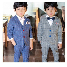 цены Boy Suit For Weddings 3pcs/Set Boy Plaid Formal Suit Jacket British Vest+Jacket+Pants Suit For Child Wedding 3-10Y