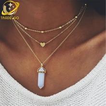 цены на multilayer turquoise pendant necklace women gargantilla heart opal stone choker necklace gothic chockers 2017 fashion jewelry  в интернет-магазинах