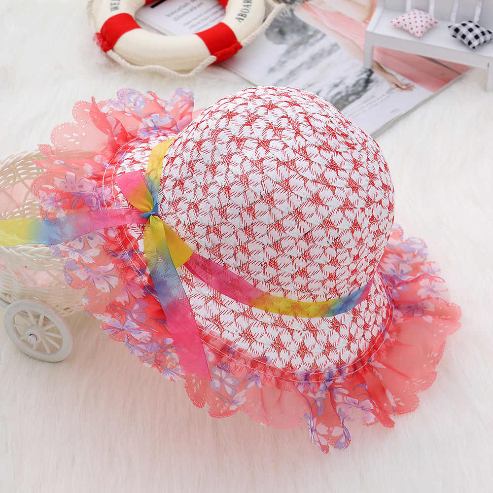Fashion Summer Outdoor Sweet Style Multicolor Straw Cap Baby Bucket Hat Sun Cap Kids Girls Boys Cute Photography Props Hat