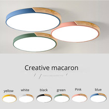 Round Wooden LED Ceiling Lights With Remote Control Macaron color Ceiling Lamp For Living Room Dining Kitchen Lighting Fixtures(China)