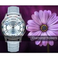 SKONE Brand Women Watches Luminous Hands Big Number Rhinestone Case Fashion PU Leather Straps Watch Clock