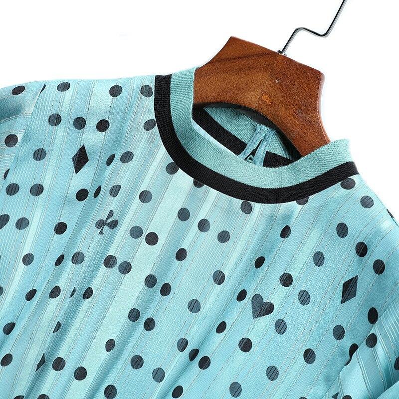 Printemps Lanterne Manches Élégante Robes Dots A Nouveau Mousseline Rayé Été Col Carburant Bleu Bohème bleu 2019 Imprimer Conduites Noir ligne De Noir 57qnqP4
