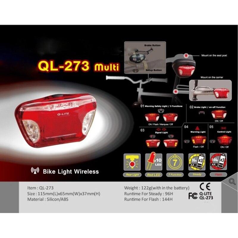 Q-LITE QL-273 Multi-Function Wireless Bike Brake Indicator Tail Rear Light Lamp