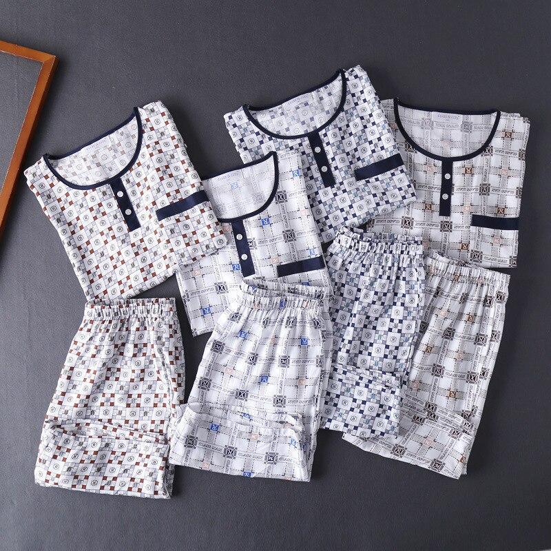 Plus Size Cotton Pijama Hombre Pyjamas Men Sleepwear Top Shorts Two Piece Pajamas ...