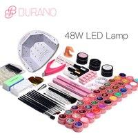 BURANO 48 W LED UV Prego lâmpada 25 LEDs Prego dryer & 36 cores uv gel Unha polonês Ferramentas de Arte do prego Conjunto Kit gel base top coat edifício