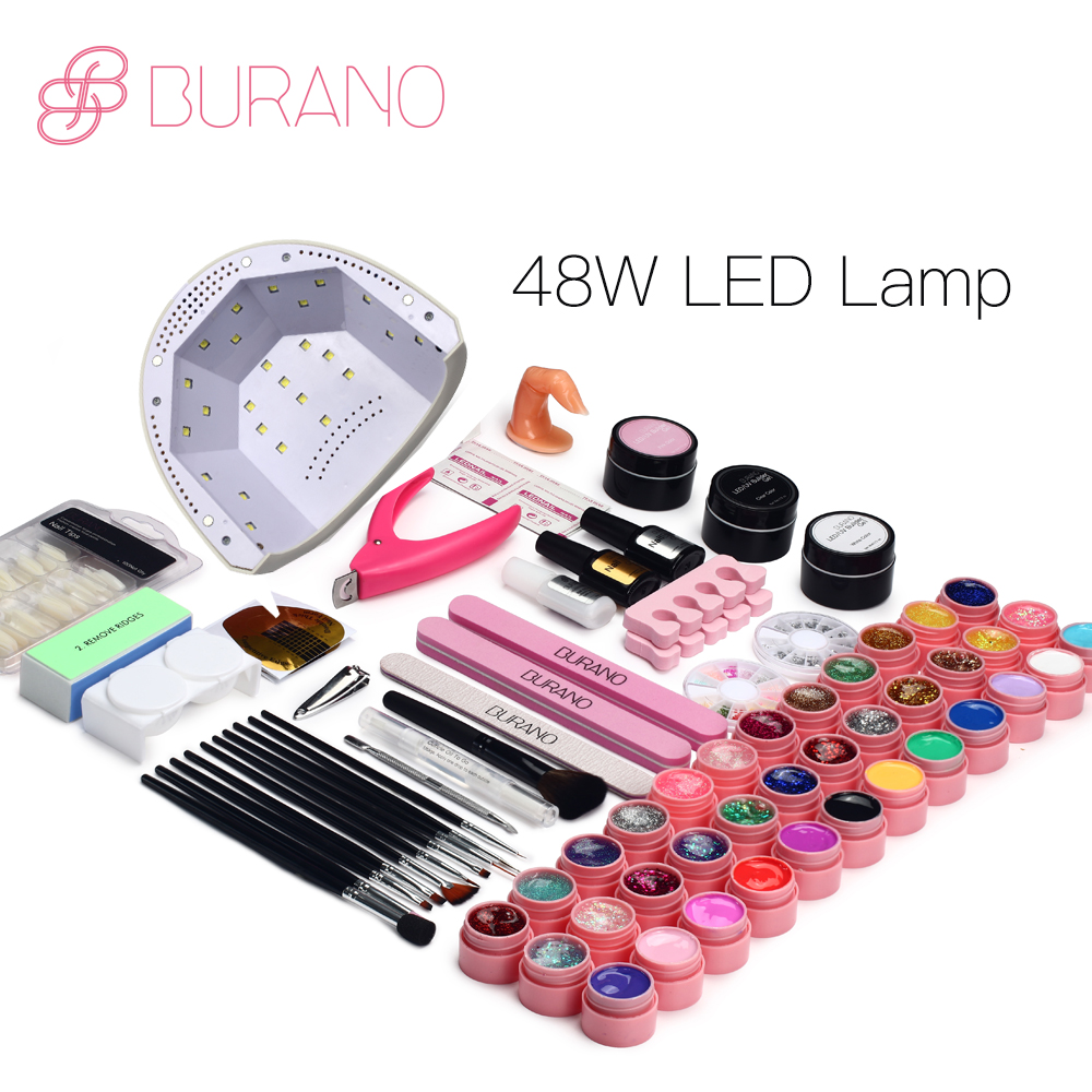 BURANO 48W UV LED Nail lamp 25 LEDs Nail dryer & 36 colors uv gel Nail polish Art Tools nail Set Kit base gel top coat building em 128 free shipping uv gel nail polish set nail tools professional set uv gel color with uv led lamp set nail art tools
