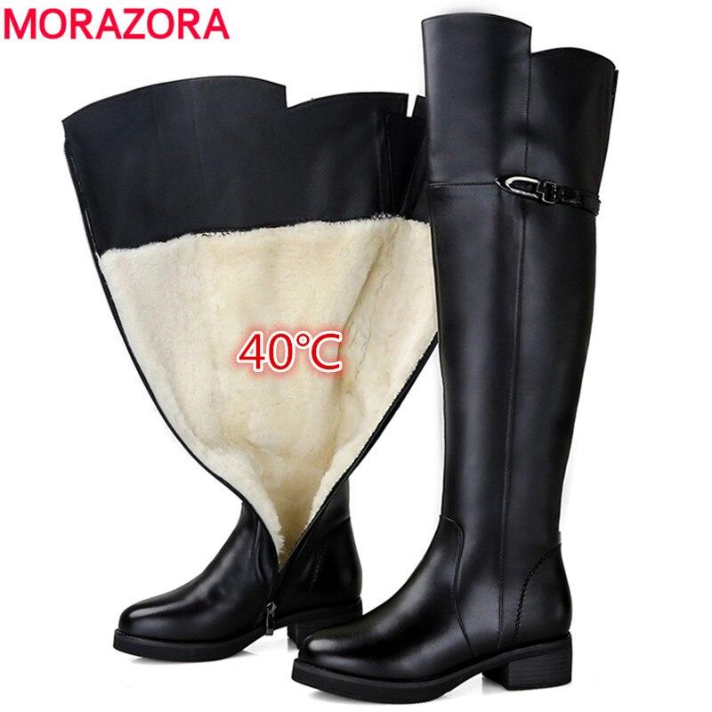 MORAZORA 2018 Neige bottes femmes véritable cuisse en cuir épais de fourrure naturelle laine bottes d'hiver bout rond mode dessus du genou bottes