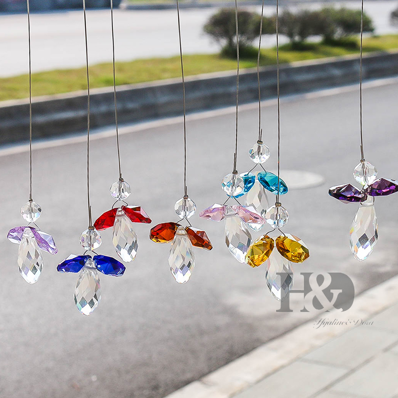 H&D Pack Of 8,Crystal Guardian Angel Hanging Suncatcher Rainbow Maker Christmas Decoration Hanging Ornament