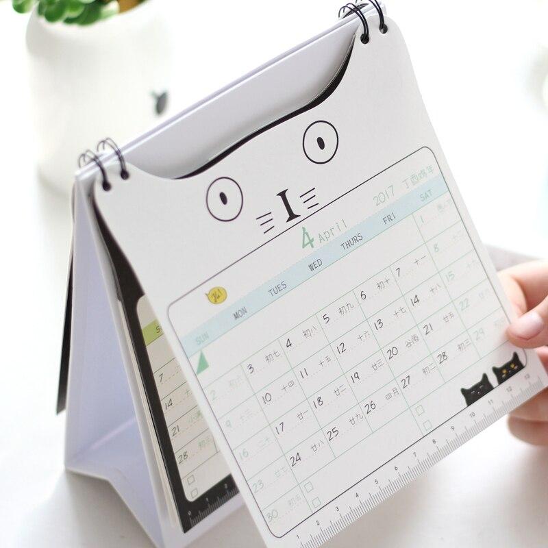 New 2017 Cute Cat Print Desk Calendar Desktop To Do List Daily ...