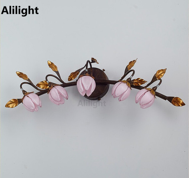 Pink flowers wall lamp living room study bedrom beside vintage pink flowers wall lamp living room study bedrom beside vintage sconce european style creative mirror led aloadofball Images