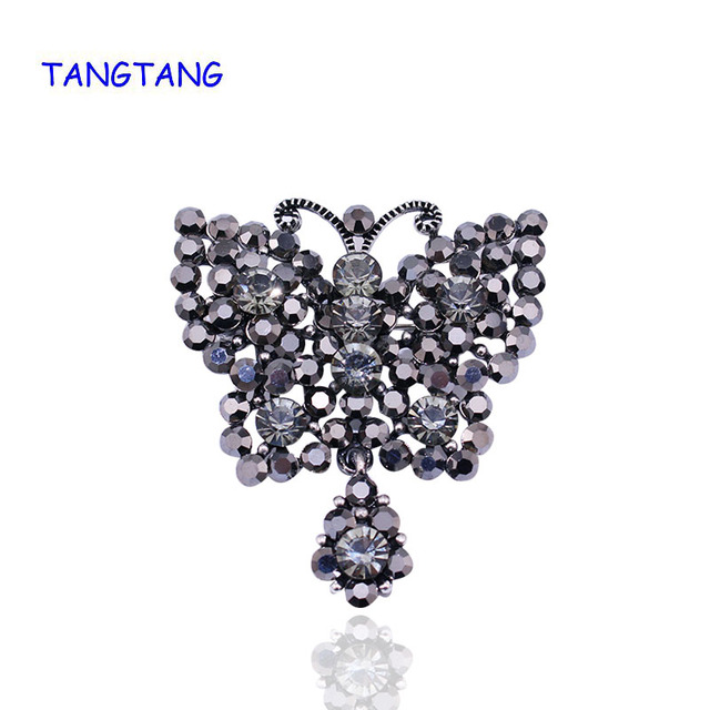 Fashion Antique Silver Elegant Hollow Black Rhinestones Flying Butterfly Brooches and Pins for Women Gift Hot, Item NO.: BH8179