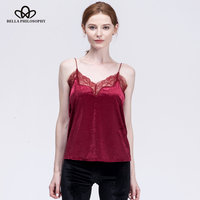 Bella Philosophy 2017 Women Autumn Winter Lace Hem Velvet Cami Shirt Top Pink Black Navy Burgundy