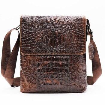 efd1864bc Bolso bandolera de cuero genuino de cocodrilo para hombre, bolso de hombro  cruzado para hombre, paquete de cremallera Casual y de negocios para Ipad