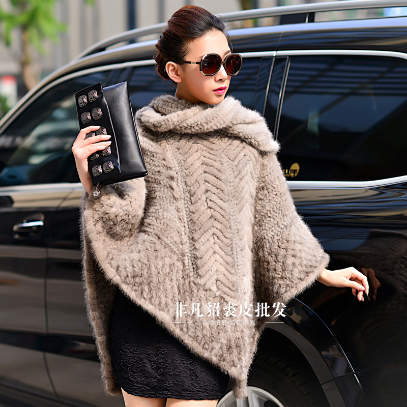 Real mink fur cloak cape women mink thickening knitted pullover marten fur coat overcoat mink fur shawl