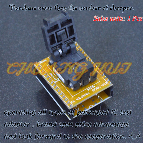 SA686/QFN32 to DIP32 Programmer Adapter WSON32 DFN32 MLF32 test socket Pitch=0.5mm fshh qfn32 to dip32 programmer adapter wson32 udfn32 mlf32 ic test socket size 3 2mmx13 2mm pin pitch 1 27mm