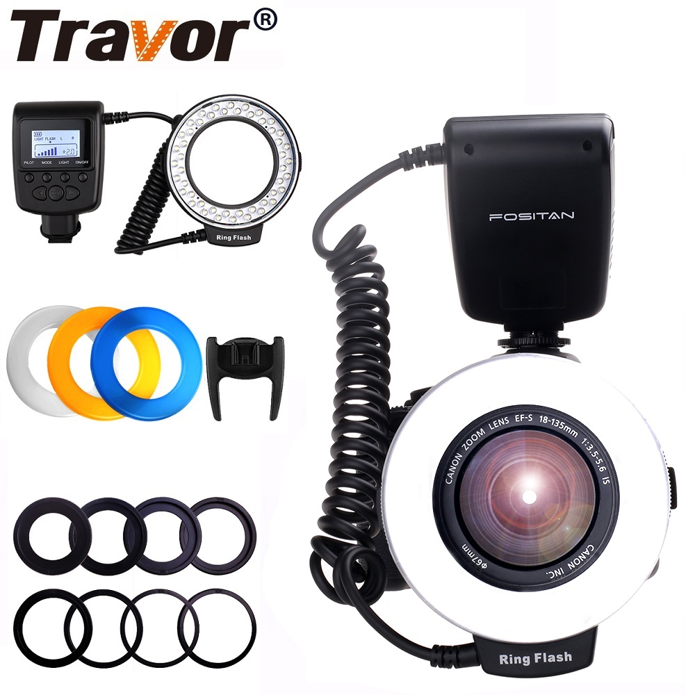 Travor Flash Light 48 PCS LED Macro Ring Flash RF-550D For NIKON Canon Olympus SONY Panasonic Fujifilm Speedlite LCD Display