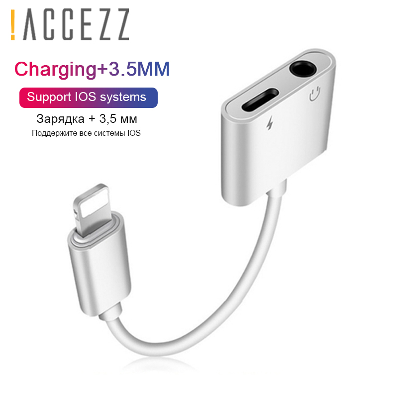!ACCEZZ For Apple Adapter Charging Listening For iPhone X 7 8 Plus XS MAX Splitter 3.5mm Jack Earphone Aux Cable Phone Connector