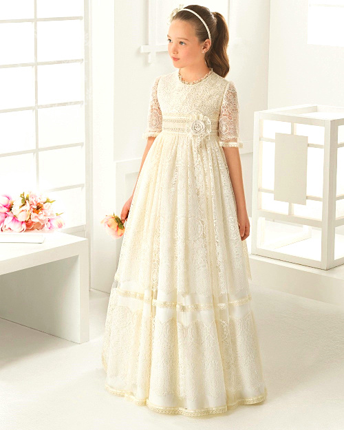 Princess Ball Gown First Communion   Dress   White Lace   Flower     Girls     Dresses   2019 For Weddings Cheap Tulle With Belt Bow Knot Custom