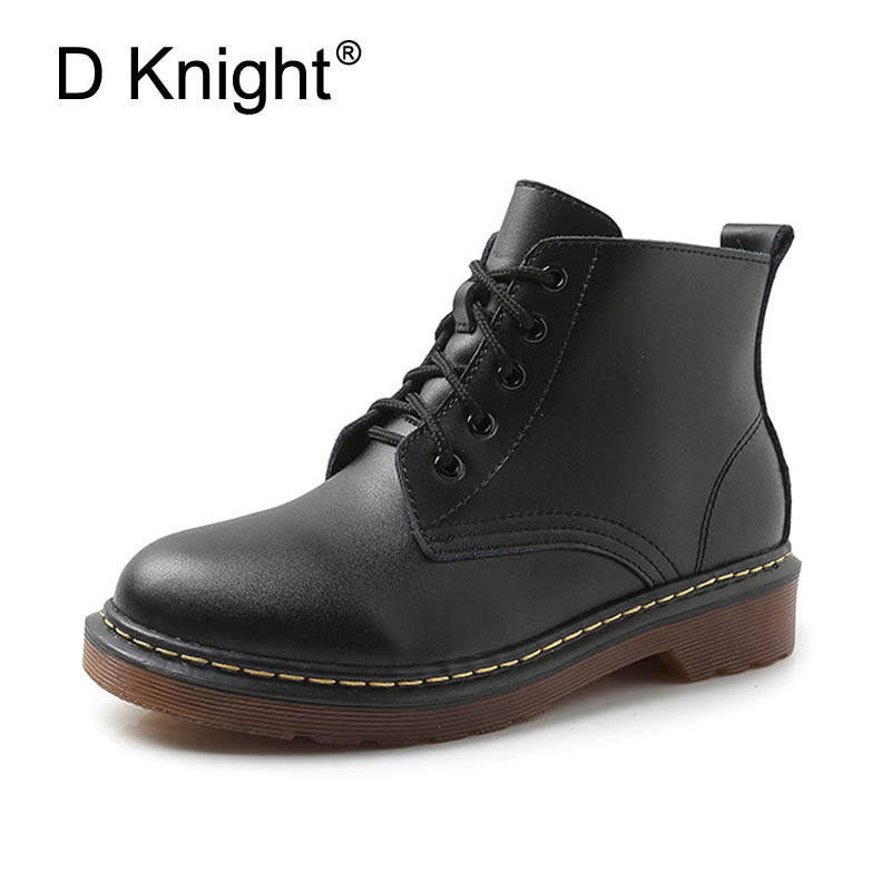 Ladies Casual Lace Up Flat Ankle Boots Fashion Round Toe Plain Cow Leather Boots For Women Female Genuine Leather Autumn Boots high quality full cow skin genuine leather flat casual ankle boots women 2016 black white lace up fashion autumn walking shoes