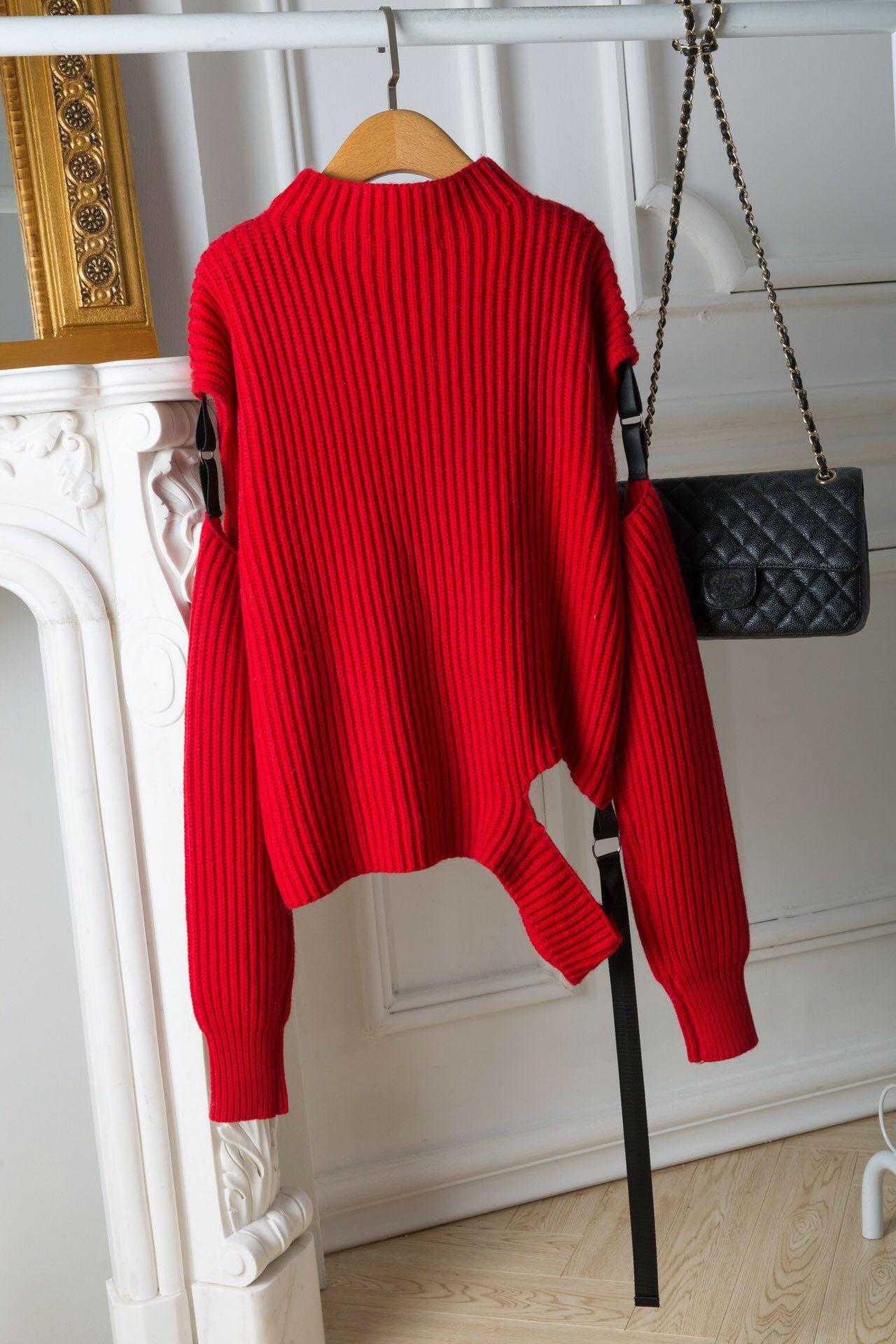 white Cou Vêtements À Tailles Red Irrégulière Chandail Avec Nouveau Couleurs Femmes Col 1 2 2019 Laine D'hiver 100 8w6HqnTB