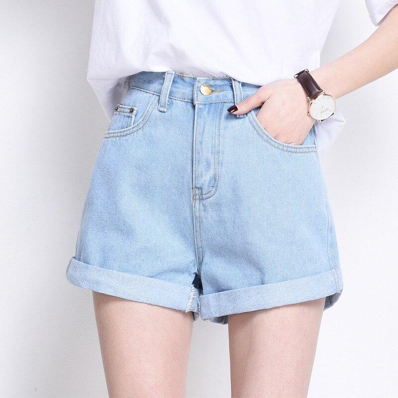 2017 Summer New High Waist Straight Shorts S XL Korean Popular Curly Loose Jeans