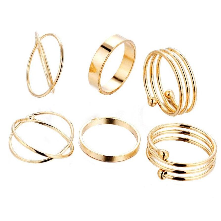 Gold Color Rings Hot Fashion 6PCS/Set Fashion Women Lady Ring Jewelry Finger Tip Stacking Rings Drop Shipping Jun1918