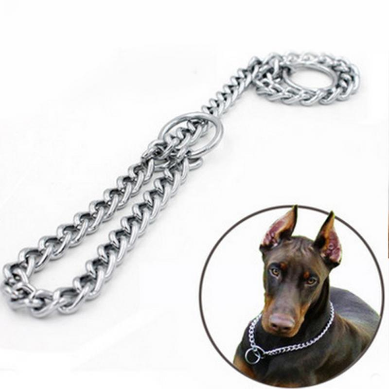 Metal Stainless Steel Chain Dog Collar Double Row Chrome Plated Choke Training Show Collar Adjustable Safety Control