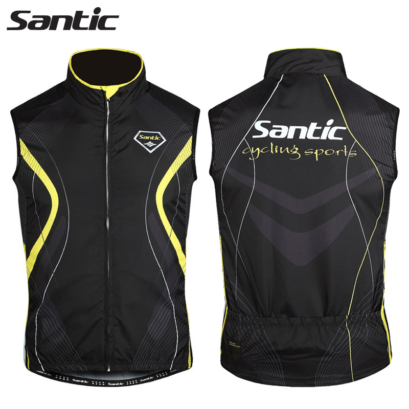 Santic Cycling Vest Windproof Warm Waistcoat For Men Sleeveless Anti sweat Quik Dry Autumn Cycling Clothing Maillot Ciclismo