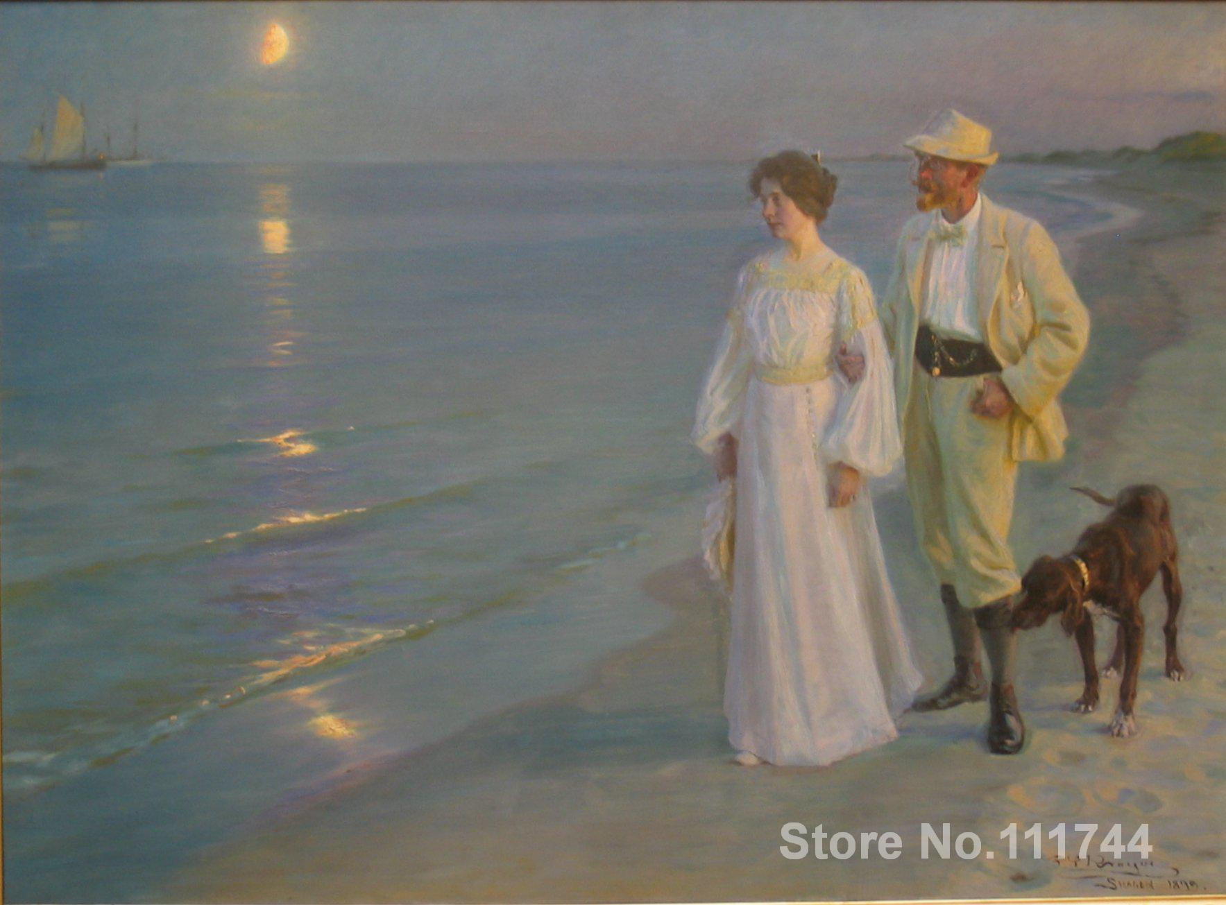 danish art Summer evening on Skagens beach Peder Severin Kroyer paintings for sale High quality Hand painted
