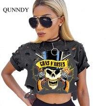 summer skull t shirt women holes crop tops novelty harjuku street tops mujer Ukraine fashion t-shirt feminino punk plus size