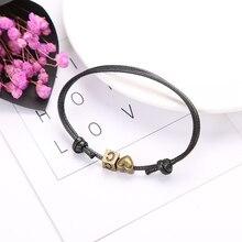 JIA$KOU 1pcs Handmade Heart Letter Square Bracelet Rope Bracelet For Women/ Men Fashion Jewelry Romantic Couple Bracelets JKB002 classic heart letter a bracelet for women