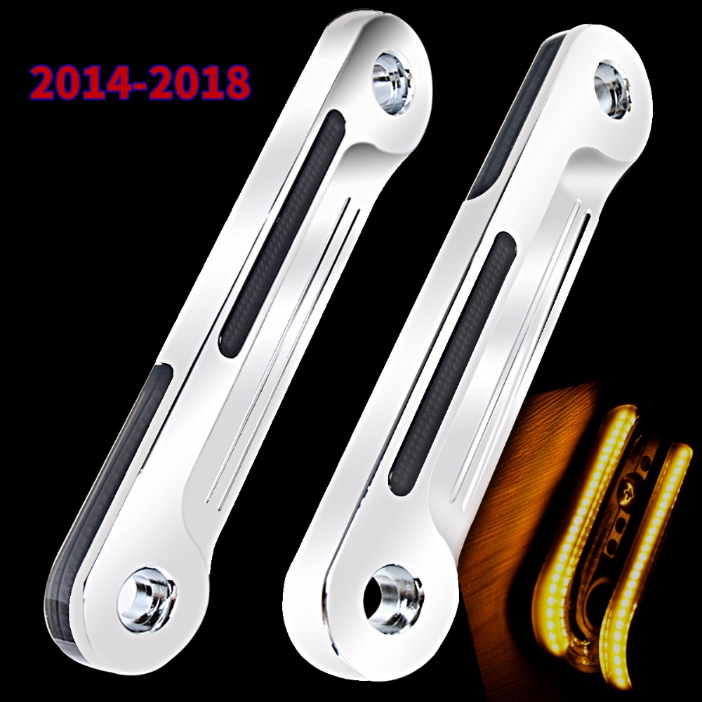 Chrome LED Flush Fork Turn Signal Brackets For Harley Touring Electra Street Glide 2014 2015 2016 2017 2018 rsd motorcycle 5 hole beveled derby cover aluminum for harley touring flh t 2016 2017 for flhtcul and flhtkl 2015 2016 2017
