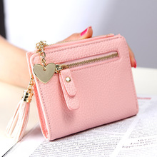 все цены на Short Small Tassel Women Wallet Design Leather Double Zip Two-fold Female Wallet with Heart Chain Card онлайн