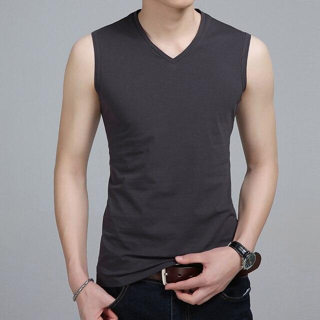 Liseaven Men V Neck Tank Tops Bodybuilding Fitness Tops Tees Slim Fit T Shirt Vest Men's Clothing Sleeveless T-Shirts 5