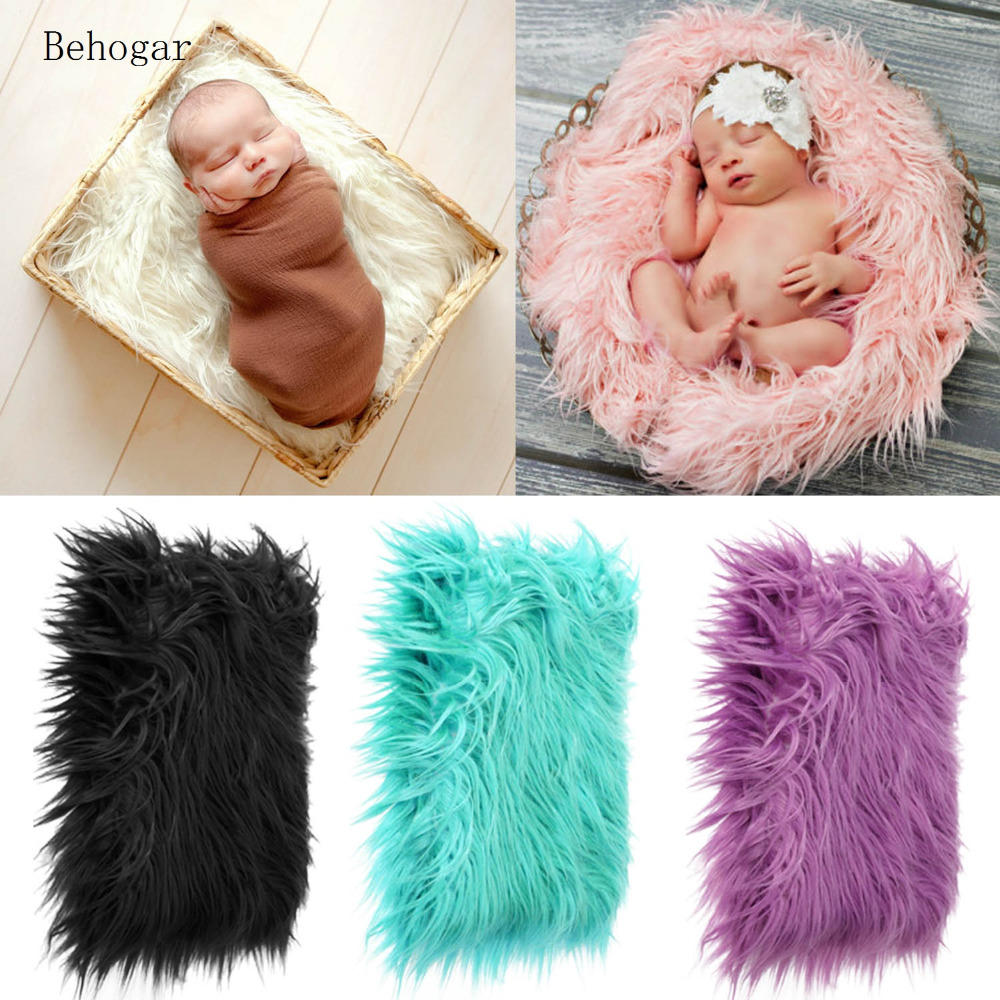 Behogar 50x60cm Newborn Baby Infant Fake Fur Rug Blanket