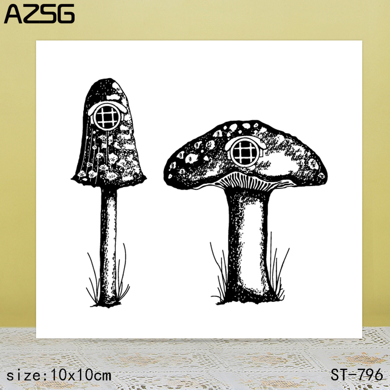 AZSG Mushroom house Clear Stamps Seals For scrapbooking DIY Card Making Album Silicone Decoration crafts6 9cm in Stamps from Home Garden