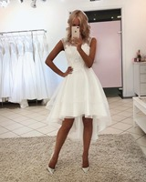 Sexy Simple Lace Plus Size Short Beach Bohemian Boh Wedding Bride Dresses Gowns 2019