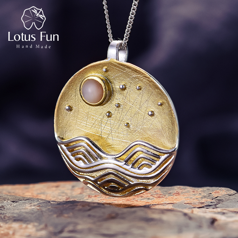 Lotus Fun Real 925 Sterling Silver Natural Handmade Fine Jewelry The Moonlight Design Pendant without Chain Acessorios for WomenLotus Fun Real 925 Sterling Silver Natural Handmade Fine Jewelry The Moonlight Design Pendant without Chain Acessorios for Women