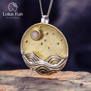 Image 1 - Lotus Fun pendentif sans chaîne, Design clair de lune, bijoux fins naturels faits à la main, pour femmes