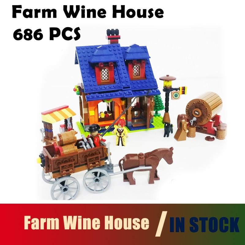 Compatible with lego City 686 pcs Model building kits Farm Wine House 3D blocks Educational toys hobbies for children decool model building kits compatible with lego city large 1 10 racing sport car 3d blocks educational toys hobbies for children