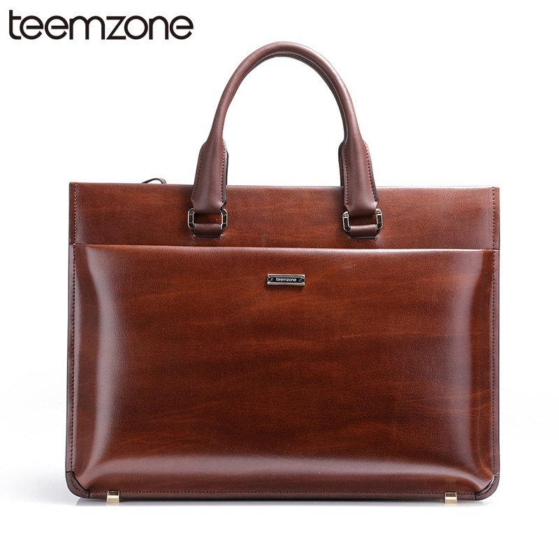 teemzone Upgrade 15 Laptop Men Top Genuine Leather Vintage Formal Business Lawyer Briefcase Men Shoulder Attache Portfolio Bag teemzone top men genuine leather vintage formal business lawyer briefcase messenger shoulder attache portfolio tote brown t0581