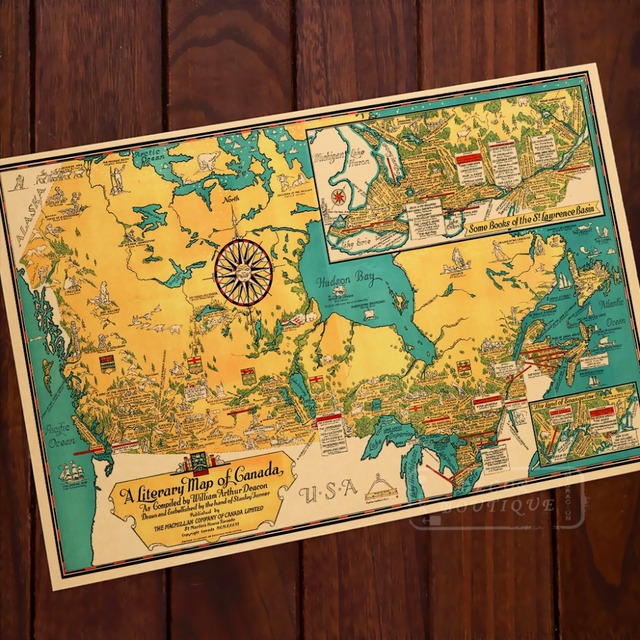 The Literary Map of Canada Classic Vintage Retro Kraft Decorative ...