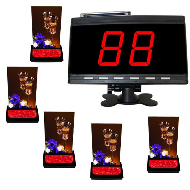 Chamada sem fio do sistema. sistema de garçom para pcs restaurant.5 mesa chamador de displayer de APE9000 APE730 e 1 pc preto