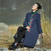 Autumn Winter China retro folk style women Long Coat loose printed cotton padded jacket Chinese Traditional Linen Trench clothes