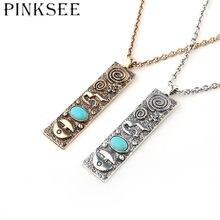 Pinksee ouro vintage prata cor geométrica quadrado pingente colar hip hop jóias para mulher acessórios de vestuário masculino