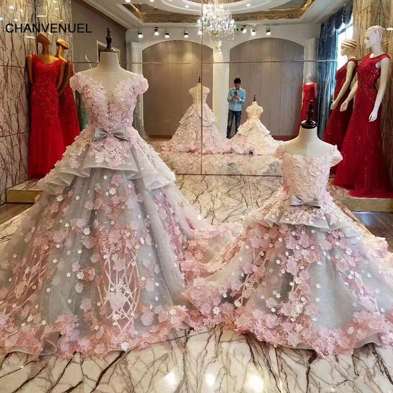 LS83920 mother daughter gowns zipper back beaded organza ball gown long   evening     dress   on sale abendkleider lang real photos
