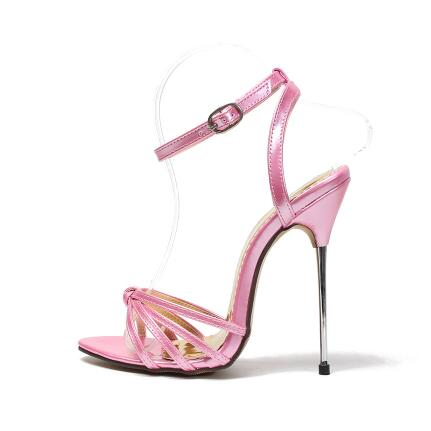 Newest 13CM Sky High Sandals For Women Cut-out Cross Strap High Heel Sandals Sexy Metal Heels Summer Dress Shoes Plus Size 13 alluring spaghetti strap flounced crisss cross dress for women