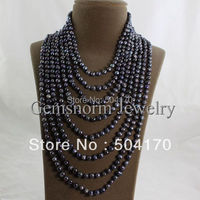 Promotion! Fabulous 8 ROWS Freshwater Black Pearl Necklace Fashion 6 7MM Potato Pearls Strands Jewelry FP222