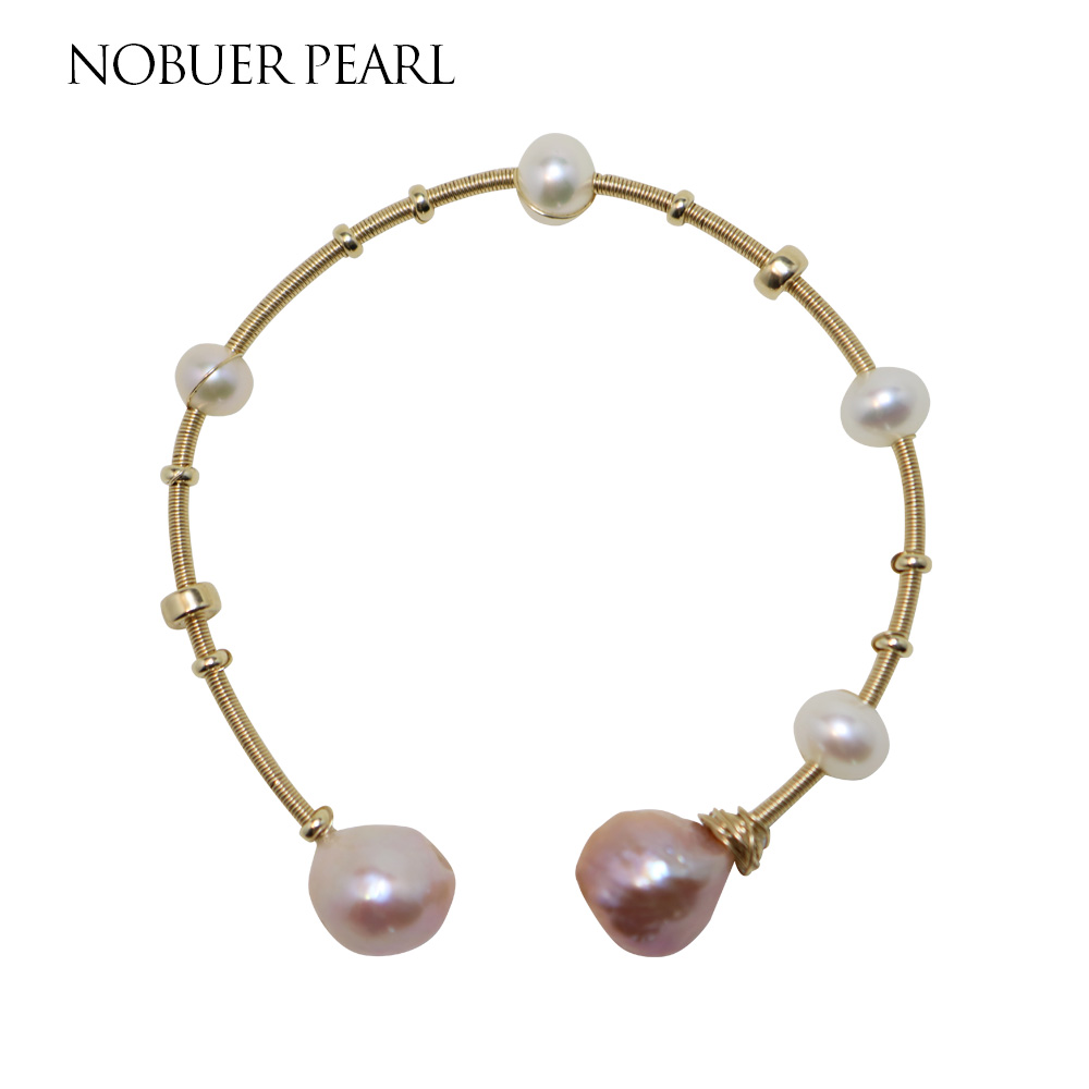 Nobuer 14K Gold Real Pearl ձեռնաշղթաներ `7-8 մմ - Նուրբ զարդեր - Լուսանկար 1