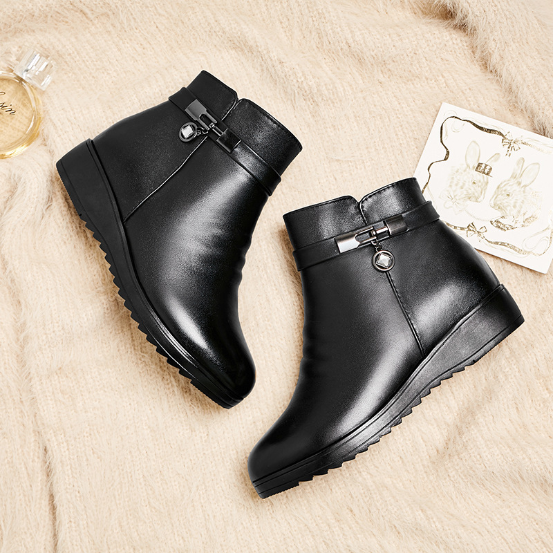 Mujeres Lana Calientes Zapatos Antideslizante Inside Tamaño Del black Wool Plush Inferior 35 2018 Black Algodón De Invierno 43 Grueso Más Nuevo Bajo Botas Talón qTRWO7Ea